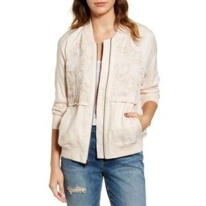 NWT Hinge Pink Lace Floral Bomber Jacket